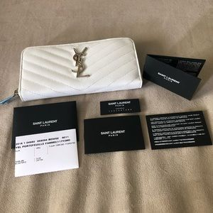 New YSL White Leather Wallet Saint Laurent Silver